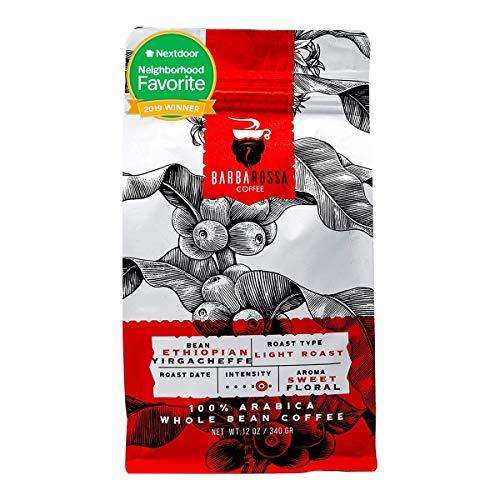 Barbarossa Ethiopian Yirgacheffe Coffee - Premium Quality Handcrafted - Sweet Floral Aroma Medium Dark Arabica Natural Processed - Bright Acidity Light Roasted Beans | 2019 Neighborhood Favorite Award