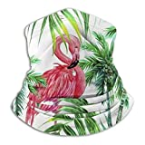 Face Mask Bandana Face Scarf, Tropical Jungle Palm Leaves Decor Watercolor Pink Flamingos in Coconut Tree Unique Anti UV Protection Face Mask Bandanas Mouth for Adults and Teen Youth