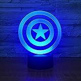 Lámpara De Ilusión Superhéroe Spider-Man Martillo De Thor Icono De Pantera Negra Luz Led Iron Man Escudo Del Capitán América 3D Luz De Ambiente Del Dormitorio-Modelo 5_16 Colores Con Control Remoto