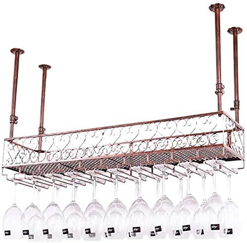 Vidrio de techo vino portavasos rack de altura cubierta de cristal auge invertida vino, marco de hierro forjado,60 * 25cm