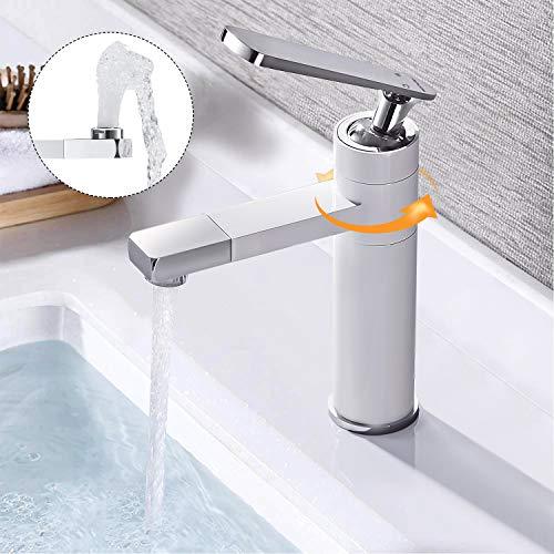 BONADE Weiße Badarmatur Wasserhahn 360° Drehbarer für Waschbecken Einhebelmischer Chrom Mischbatterie Hochdruck Waschtischarmatur für Badezimmer