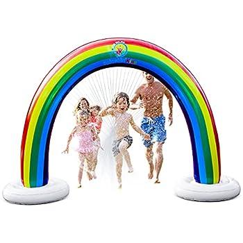 Splashin kids Outdoor Rainbow Sprinkler Super Toddler Water Toys for Children Infants Boys Girls and Kids Perfect Outside Inflatable Water Park for Summer Fun Watch Video Slip and Slide Splash pad