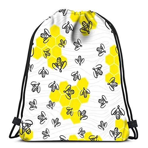 Lmtt Mochila con cordón Bolsas Deportes Cinch Doodle Enjambre de Abejas y Panal para diseño Mochila de Cuerda Bolsas de Almacenamiento a Granel para Gimnasio Escolar