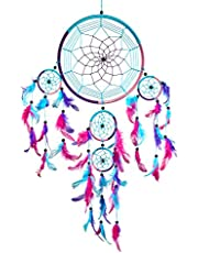 Pink Pineapple Large Handmade Bohemian Dream Catcher: Ethical Hanging Dreamcatcher Wall Art with Aqua Blue, Pink and Purple Feathers and Beads with Traditional Crochet Design - 22cm Wide, 60cm Long