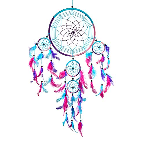 Pink Pineapple Dreamcatcher bunt mit Federn: Handgemachter Traumfänger in Vielen Farben - Türkis Blau, Rosa, Lila, Großer Traumfänger Mit 22 cm Durchmesser und 60 cm Lang