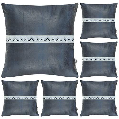 Fundas de almohada de piel sintética, 45,7 x 45,7 cm, fundas de cojín cuadradas de lujo, juego de 6 fundas de almohada decorativas modernas sólidas para dormitorio, sala de estar y sofá, color azul