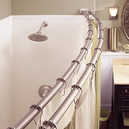 Bennington Adjustable Double Curved Shower Curtain Rod, Satin Nickel