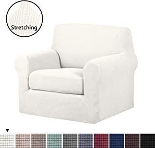 2-Pieces Skid Resistance Sofa Cover Furniture Protector Jacquard Spandex Couch Covers Armchair Slipcover, Fitted Sofa Protector Stretch Knitted Jacquard Sofa Slipcovers-Ivory White, Chair(1 Seater)