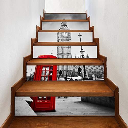 A.Monamour Pegatinas de Escalera Autoadhesivos 3D Cabina De Teléfono Roja De La Ciudad De Londres Arquitectura Big Ben Vinilo Pegatinas de Pared Adhesivos Etiquetas Pegatinas de Baldosas 6 PCs