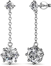 Pendientes chapados en oro blanco de 18 quilates de Cate & Chloe Jessie con cristales de Swarovski, hermoso arete redondo con diamantes talla brillante, aretes colgantes de aniversario hipoalergénicos