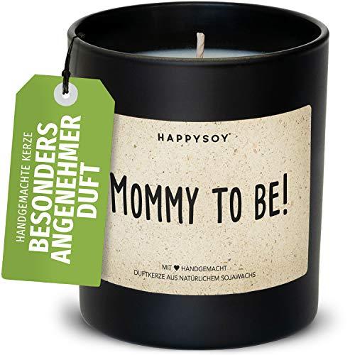 Happysoy Mommy to be Duftkerze im Glas mit Spruch aus Soja- 100% natürlich handgefertigt vegan - Babyparty Geschenk Geschenkidee für Schwangere werdende Mama Freundin Babyshower Party Dekoidee