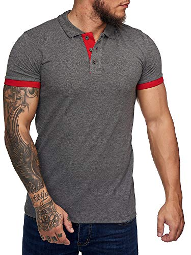 OneRedox Herren Poloshirt Polohemd Basic Kurzarm Einfarbig Slim Fit Polo Shirt Baumwolle T-Shirt Polokragen M-XXXL Modell 1402 Antrazit XL