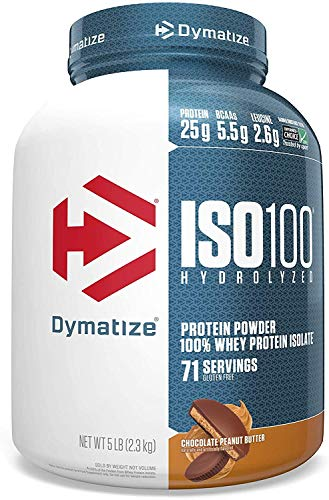Dymatize ISO 100 Whey Protein Powder with 25g of Hydrolyzed 100% Whey Isolate, Gluten Free, Fast Digesting, Chocolate Peanut Butter, 5 Pound