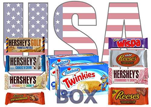 USA Box 🍫 - Schokolade aus der USA - Süßigkeiten Box 🍭 Reese's, Twinkies USA, Hershey Gold, Süssigkeiten Geschenkbox