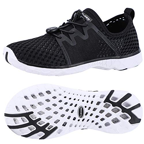 ALEADER Womens Water Shoes, Xdrain Venture, for Swim,Pool,Beach,Walking Black/White 8 D(M) US