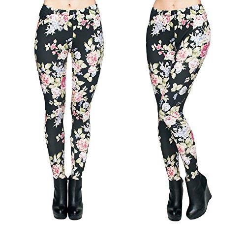 Hanessa Frauen Leggins Bedruckte Leggings Geschenk zu Weihnachten Hose Frühling Sommer Kleidung Blumen, Schwarz Weiß, S-M