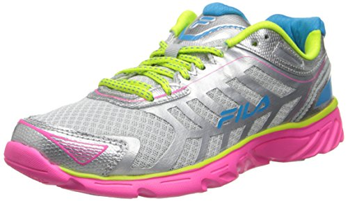 Fila Women's Memory aerosprinter 2-w, Metallic Silver/Knockout Pink/Lemon Punch, 9 M US