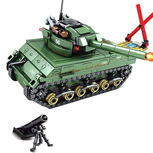 Lingxuinfo Tank Building Block Model, 437 Pieces M4 Sherman Tank Model Kit Military Army Tanks Building Block Set Military Tank Vehicle