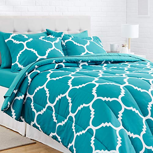 AmazonBasics - 7-teiliges Bettwäsche-Set, leichte Mikrofaser, Bett-in-A-Tasche, Bettdecke, für Doppelbett oder Queen-Size-Bett, Blaugrün