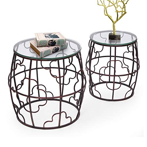 Joveco Side End Coffee Table Set of 2 Indoor Outdoor Decorative Nightstands (2 Pieces Drum End Table)