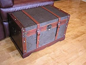 Styled Shopping Saratoga Faux Leather Chest Wooden Steamer Trunk - Medium Trunk