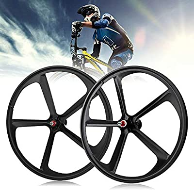 DYRABREST 700C 5 Spoke Fixed Fixed Gear Wheel Set Single Speed Front&Rear Bicycle Mag Wheel Rims Set (Black)