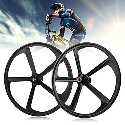 DYRABREST 700C Fixed Gear 5-Spoke Mag Wheel Set Fixie Fixed Gear Single Speed Black Front Rear Bicycle Wheels Rims Set (Black)