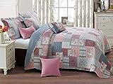 Zweiseitige Tagesdecke Bettüberwurf 3 TLG. 220x240 cm + 2 Kissenbezüge Tavira Burgund Rosa Ecru...