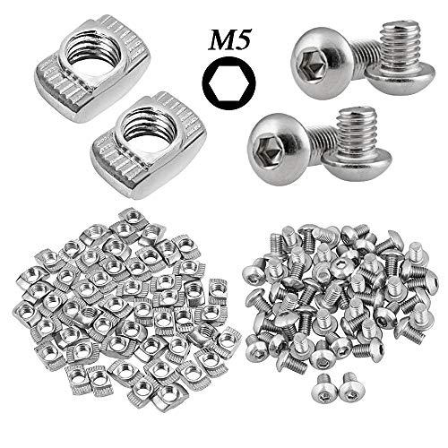 M5 Set- 50pcs T-Mutter und 50pcs M5 Linsenkopf- M5 T-Mutter T Nutmutter Hammerkopf Befestigungsmutter- Gewinde M5 Innensechskant Kappe Schrauben Bolt Sortiment Kit für Aluminiumprofil