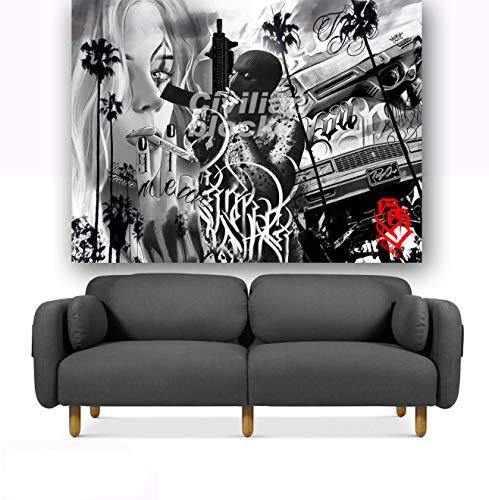 LKJHG Chicano - Tapiz para colgar en la pared, diseño de gángster, hip-hop, color blanco y negro para niñas, niños, estudio de tatuajes, barras de 150 x 200 cm