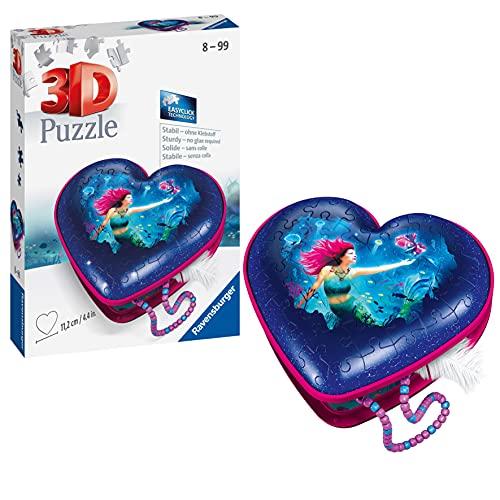 Ravensburger 3D Puzzle 11249 - Herzschatulle Bezaubernde Meerjungfrauen - 54 Teile - Aufbewahrungsbox für Erwachsene und Kinder ab 8 Jahren