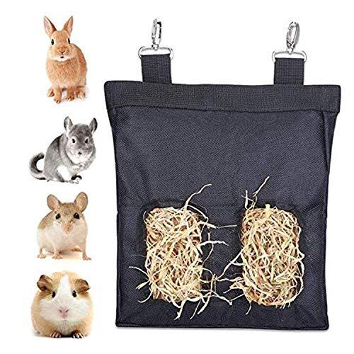 Bolsa de Heno para Conejo Alimentador de Heno de Conejillo 23 x 28 x 2.6cm Bolsa de Heno Alimentador Colgante para Conejillo de Indias Chinchilla Hamsters Animales Pequeños