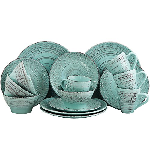 Elama Embossed Stoneware Ocean Dinnerware Dish Set, 16 Piece, Turquoise