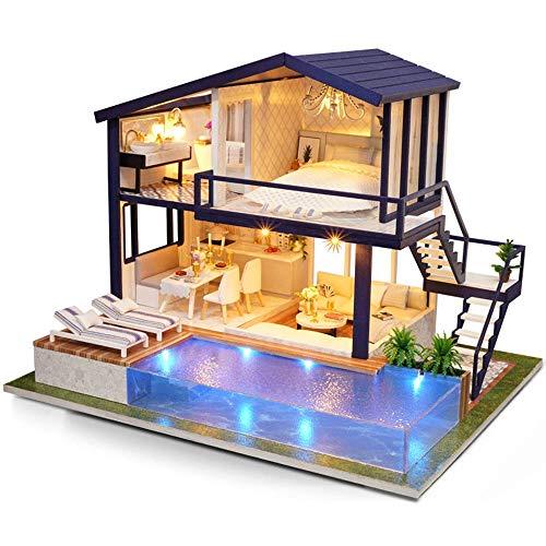 H-O Casa de muñecas de Madera de Bricolaje, Modelo de Kit en Miniatura Artesanal, apartamento de Tiempo, con Piscina, decoración de hogar Regalo de cumpleaños de Vacaciones