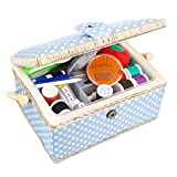 Sewkit Large Sewing Basket with Accessories Sewing Kit Storage and Organizer with Complete Sewing Tools - Wooden Sewing Box with Removable Tray and Tomato Pincushion for Sewing Mending - Blue