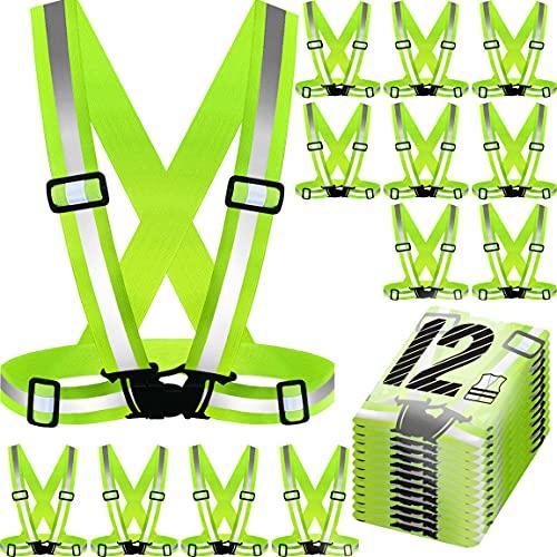 PeerBasics, 12 Pack Runner Safety Vest, Adjustable, Yellow-Green Reflective High Visibility, Hi Vis Silver Strip, Men & Women, Cycling, Running, Volunteer, Crossing Guard, (Runner Vest 12 Pack)