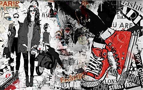 ZGHONG Wallpaper Mural Cafe Restaurant Muurdoek Behang Europese en Amerikaanse Schoonheid Kleding Gereedschap Achtergrond-c 300x210 cm (118.1 by 82.7 in) 300x210 Cm (118.1 Door 82.7 In)