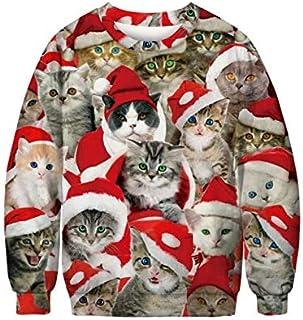 Unisex Men Women CHRISTMAS SWEATER Cat Printed Vacation Santa Elf Funny Christmas Hoodie Sweaters Jumper Autumn Winter Top...