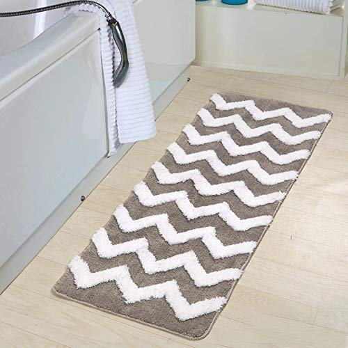 Uphome Colorful Striped Patten Extra Long Microfiber Bathroom Shower Accent Rug - Non-Slip Soft...