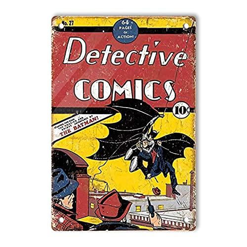 RCY-T Vintage Aluminum ブリキサイン, Detective Comics The Batman! Retro Decor Sign Wall Poster for Men Cave Garage Home Bars Movie Pubs 20x30cm