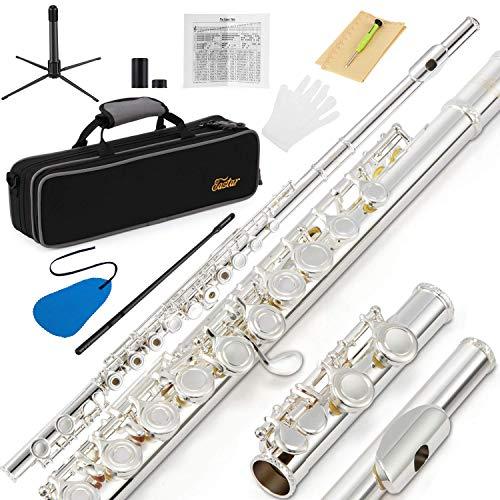 Eastar Juego de flauta de 16 llaves para principiantes, con orificio abierto y cerrado, con tabla de dedos, funda dura, barra de limpieza, paño, hisopo de flauta, destornillador y guantes (EFL