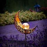Gadgy Set von 2 Solarlampen für Außen Mond design | LED Lampen für Outdoor Dekoration | Wasserdichte Garten Deko Solar lampen