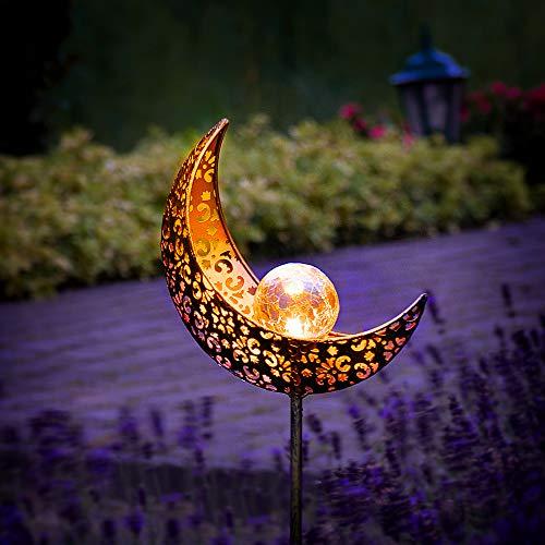Gadgy Set of 2 Solar Powered Garden Lights | Moon Design | Tall Decorative Lamps | Waterproof Outdoor Lamp | Battery Operated