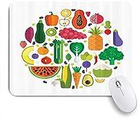 MISCERY マウスパッド 野菜の健康的で新鮮な食材丸いベジタリアンと自然食品のテーマ 高級感 おしゃれ 防水 端ステッチ 耐久性が良い 滑らかな表面 滑り止めゴム底 24cmx20cm