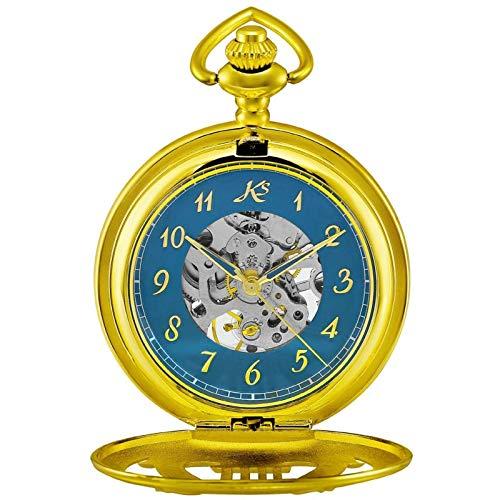 J-Love Arpa Musical Vintage Caja de Plata Esqueleto Horloge Reloj mecánico Colgante Collar Regalos Reloj de Bolsillo
