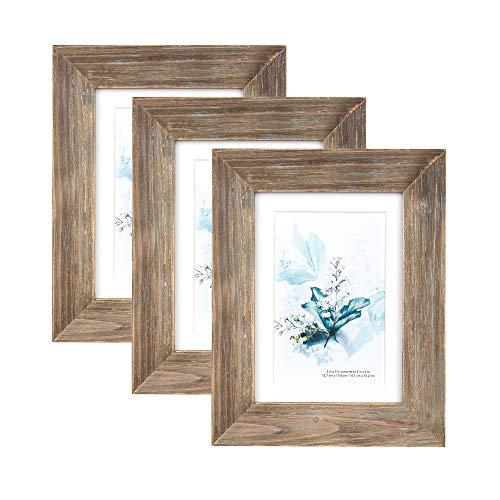 Kennethan 100% Echtholz Bilderrahmen Braun 13x18cm 3er Set -mit Passepartout 10x15cm Rustikale Fotorahmen zum aufhängen und aufstellen