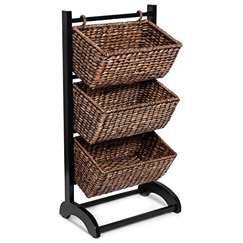 BIRDROCK HOME 3-Tier Abaca Storage Organizer Shelf - Espresso - Extremely Durable Abaca Fiber - Solid Wood Frame - 3 Baskets - Great Cubby for Storage (Brown Wash)