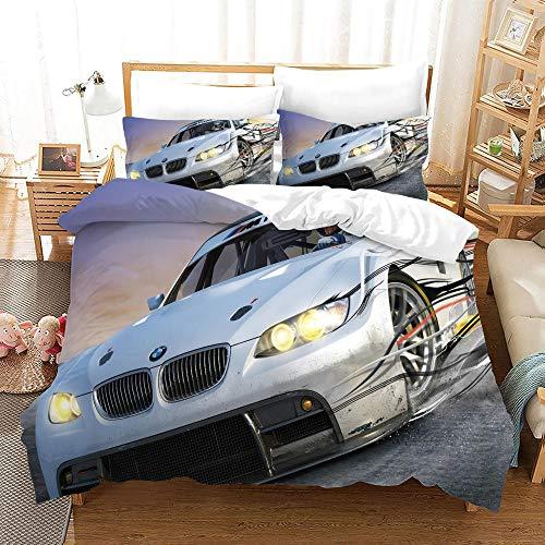 BFSOC Bettwäsche 3D Bettbezug Weißes Auto Bettwäsche Set 3 Teilig Bettbezüge Mikrofaser 100% Polyesterfaser Bettbezug Mit Reißverschluss und 2 Kissenbezug 135 X 200 cm