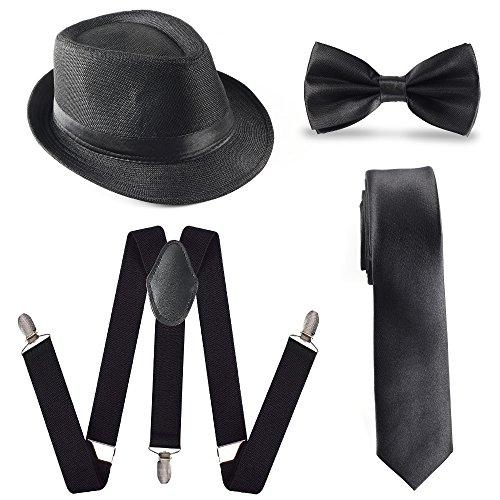 Beelittle 1920 Mens Accessory Set Manhattan Hut, Y-Rücken Hosenträger, Gangster Krawatte, Spielzeug gefälschte Puff Cigar