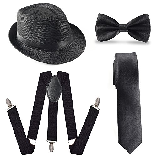 Beelittle herenaccessoireset uit 1920, Manhattan-hoed, Y-back-bretels, Gangster-stropdas, Pre-Tied Bowtie & Toy Fake Cigar (B)
